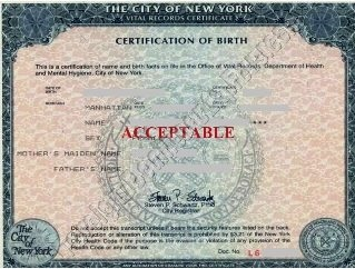 NYC birth certificate short form acceptable
