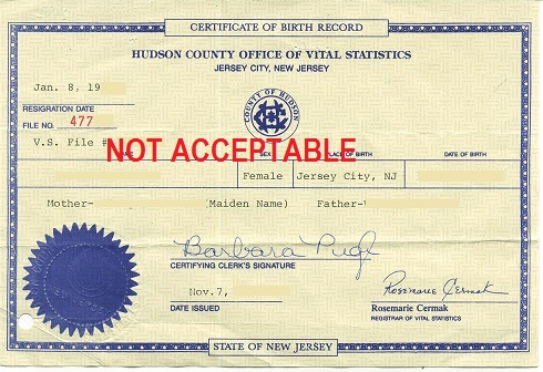 New Jersey Birth Certificate With An Apostille