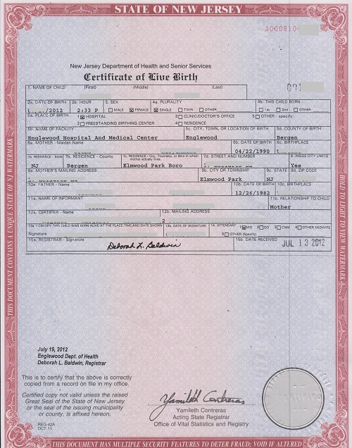Birth Certificate An Undecorated Birth Certificate Order A Birth