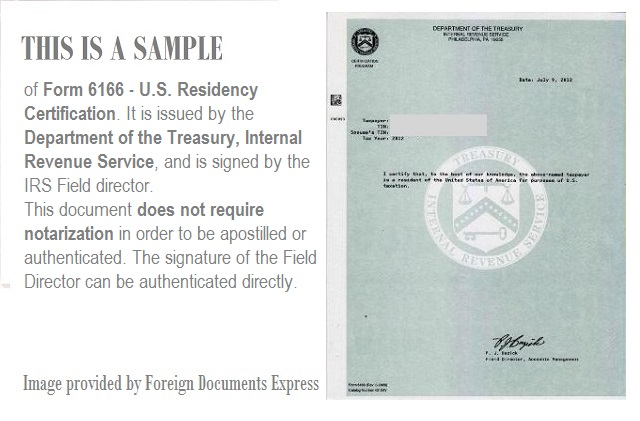 Apostille For Us Residency Certification Form 6166