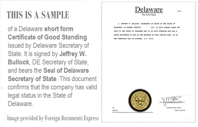 goodstanding delaware foreign documents express