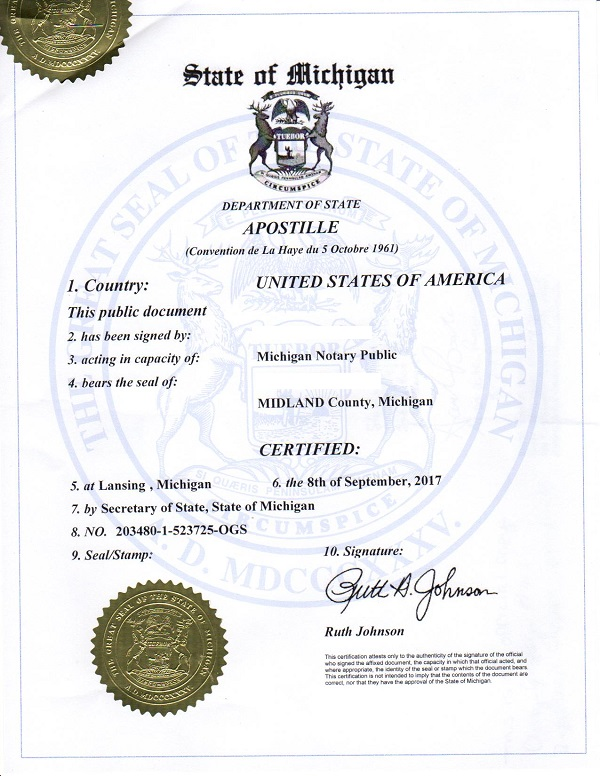 What Does A Michigan Apostille Look Like
