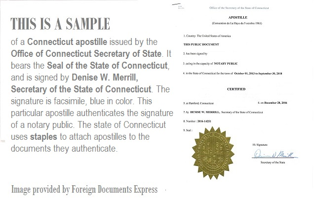 what does a connecticut apostille look like?