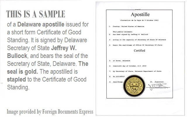 apostille goodstanding delaware foreign documents express