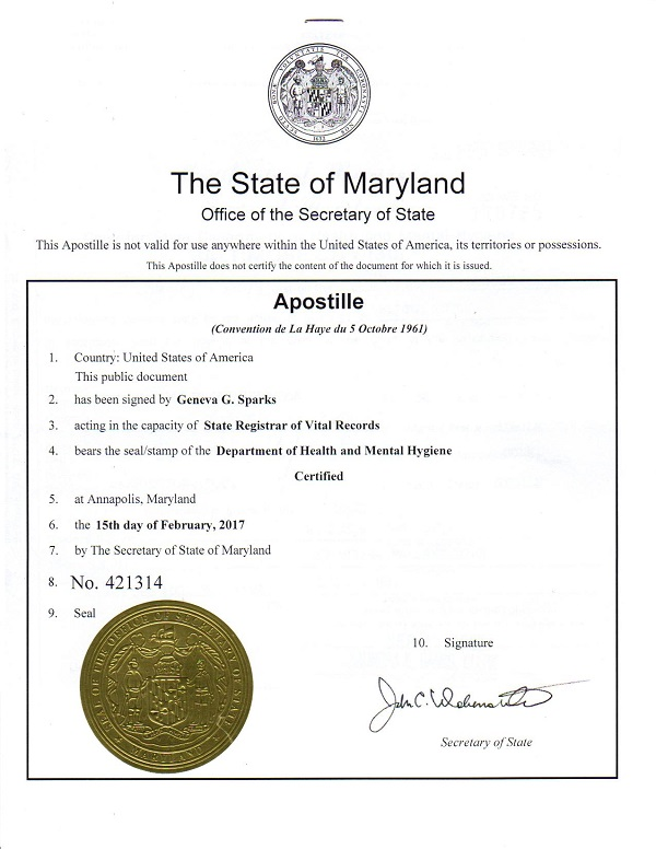 What does a maryland apostille look like - Us department of state office of authentication ...