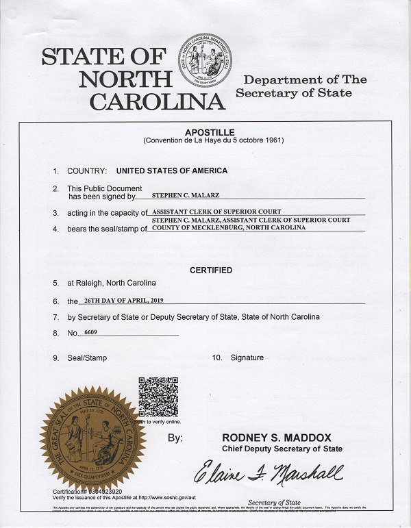 north carolina apostille 2019