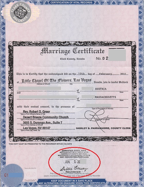 Marriage Certificate Las Vegas Certified Copy